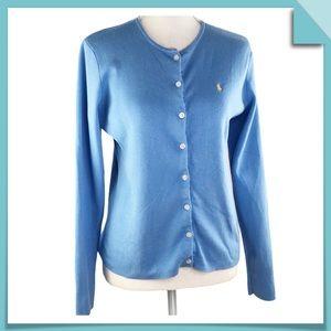 Lauren Ralph Lauren Cotton Cardigan Sweater Size M